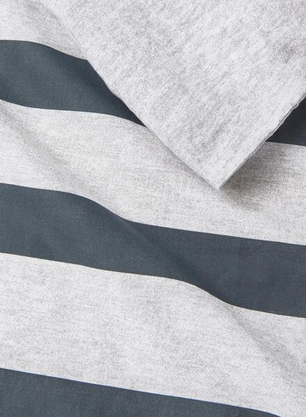dekbedovertrek - chambray katoen - 200 x 200 cm - streep zwart 200 x 200 - 5700021 - HEMA