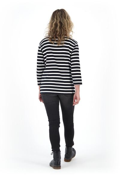 dames t-shirt boothals zwart/wit S - 36329834 - HEMA
