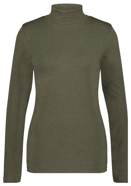 dames t-shirt met col olijf XL - 36238379 - HEMA