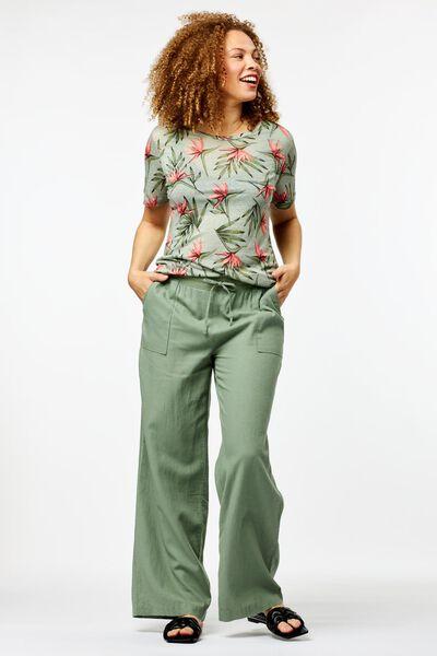 dames broek linnen lichtgroen lichtgroen - 1000024264 - HEMA