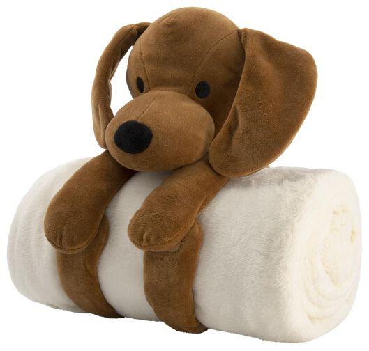 plaid 130x150 met knuffel hond - 61120086 - HEMA