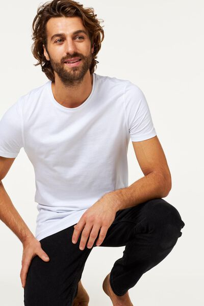 2-pak heren t-shirts wit L - 34277065 - HEMA