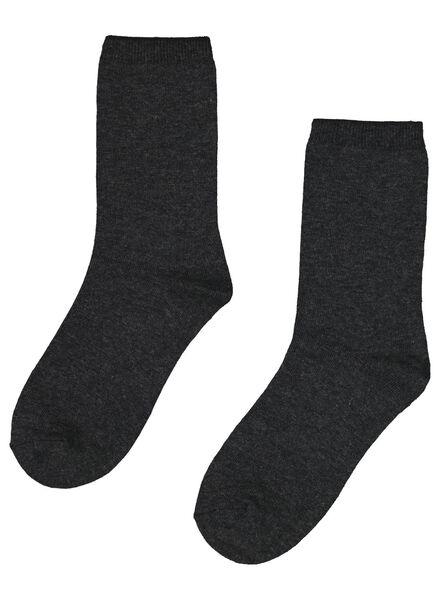 2-pak sokken met wol grijs grijs - 1000017156 - HEMA