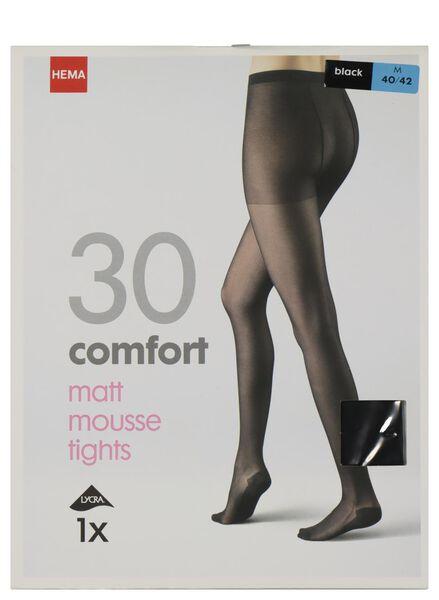 comfort panty matt-mousse 30 denier zwart 40/42 - 4042366 - HEMA
