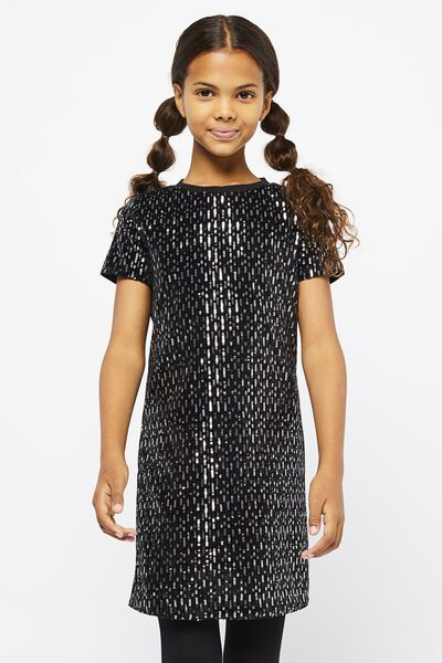 kinderjurk velvet pailletten zwart - 1000021636 - HEMA