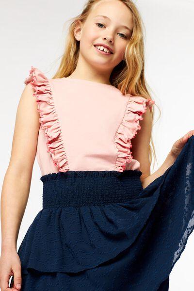 kinder t-shirt ruffle roze roze - 1000023276 - HEMA