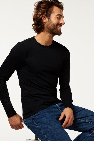 heren shirt slim fit o-hals lange mouw zwart zwart - 1000009854 - HEMA