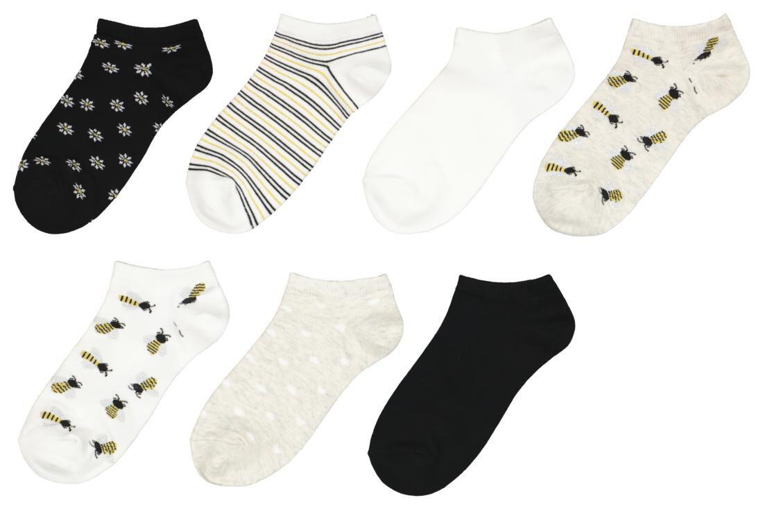 HEMA Dames Enkelsokken Bijtjes 7 Paar Wit (wit)