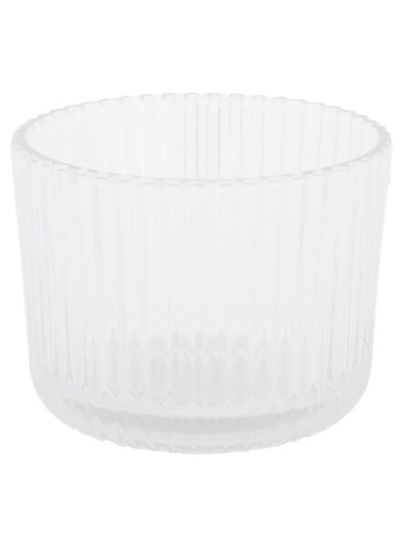 sfeerlichthouder - 6,5 x Ø 8.5 cm - transparant ribbel - 13392093 - HEMA
