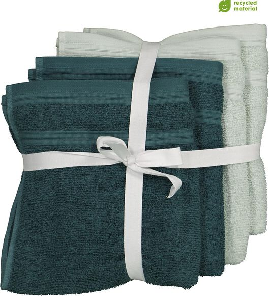 handdoeken - 50 x 100 cm - katoen met rPET - groen - 4 stuks - 5230003 - HEMA