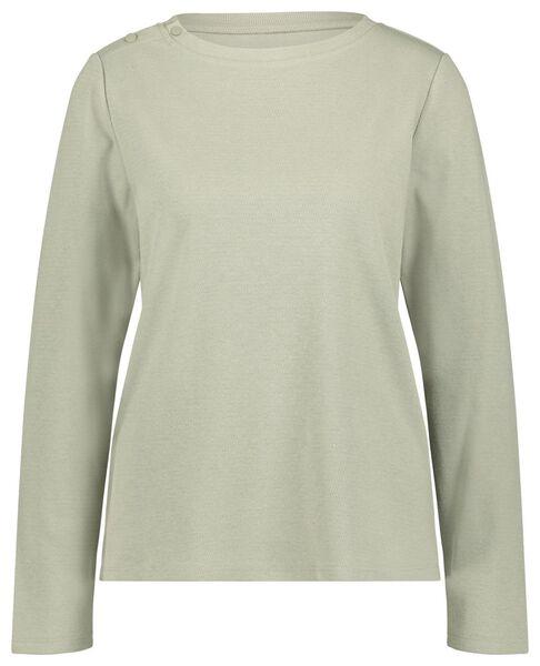 dames t-shirt structuur lichtgroen S - 36228061 - HEMA