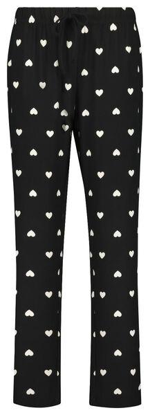 damespyjama micro hartjes zwart zwart - 1000021721 - HEMA