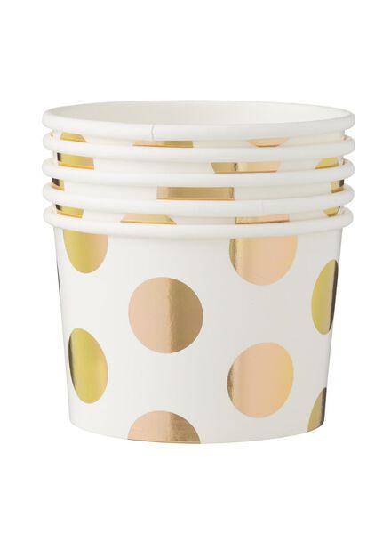 papieren bakjes - 10 cm - wit/goud stip - 5 stuks - 14230073 - HEMA
