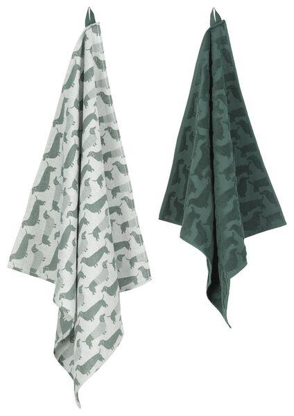 theedoek - 65 x 65 - katoen - groen teckel - 5400106 - HEMA
