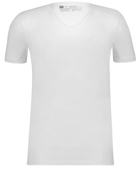 heren t-shirt slim fit v-hals naadloos - 2 stuks wit wit - 1000009976 - HEMA