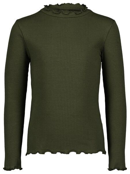 kinder t-shirt rib legergroen legergroen - 1000024744 - HEMA