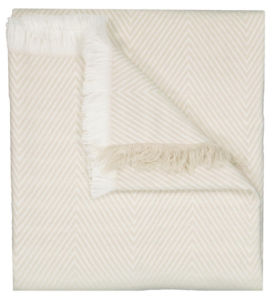 HEMA Plaid 130x150 Zigzag Crème/wit