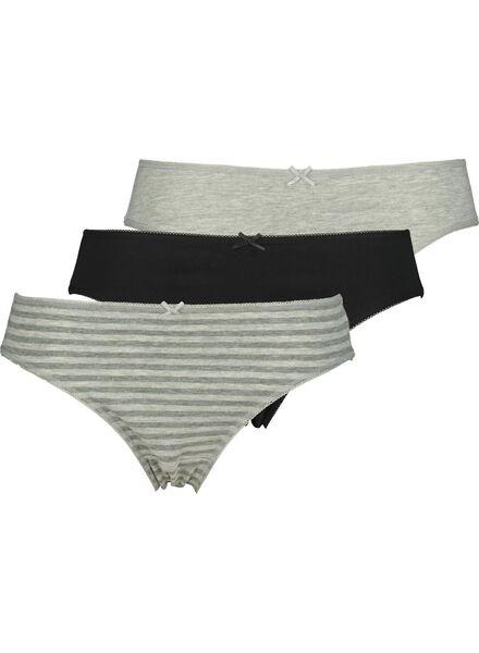 3-pak damesslips katoen grijsmelange grijsmelange - 1000014497 - HEMA