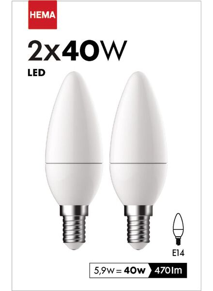 2-pak LED kaarslampen 5,9 watt - kleine fitting - 470 lumen - 20090038 - HEMA