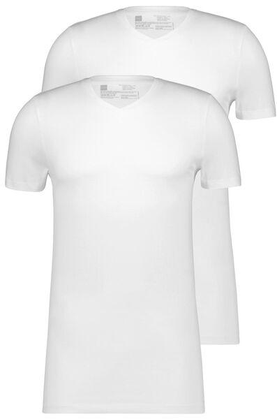 heren t-shirt regular fit v-hals extra lang - 2 stuks wit wit - 1000009945 - HEMA