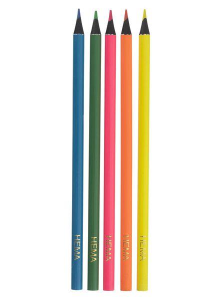 5-pak neon potloden - 15990135 - HEMA