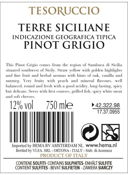 Tesoruccio Pinot Grigio 0.75L - 17370955 - HEMA