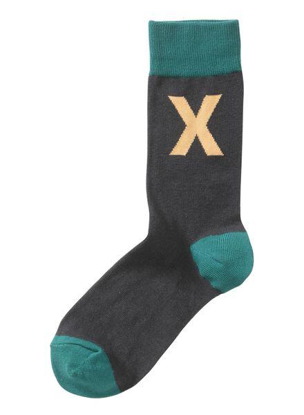 sokken maat 39-42 met letter X - 60530047 - HEMA