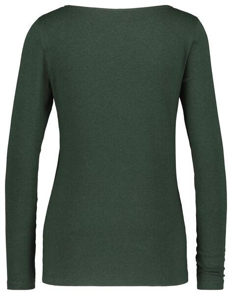 dames t-shirt boothals donkergroen M - 36359854 - HEMA