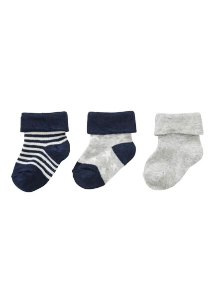 3-pak baby sokken blauw blauw - 1000002155 - HEMA