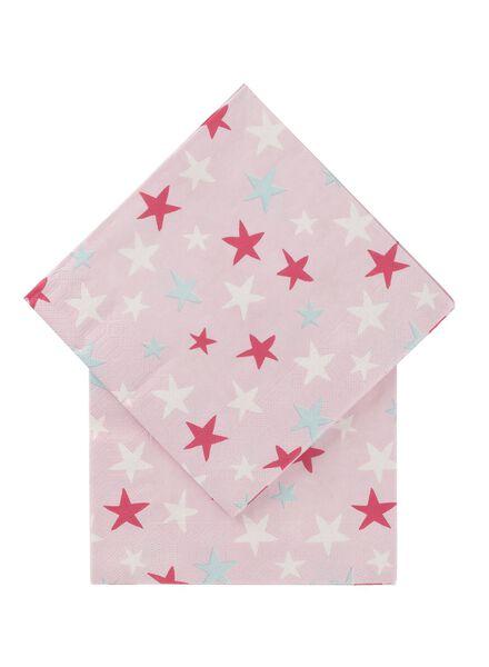 servetten - 33 x 33 - papier - roze sterren - 20 stuks - 14230116 - HEMA