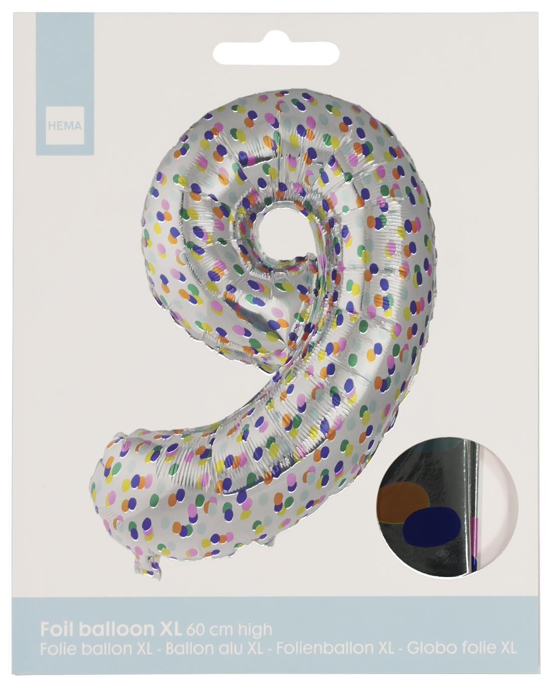 HEMA Folieballon XL Cijfer 9 - Confetti (multi)