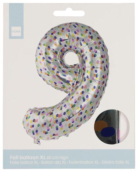 folieballon XL cijfer 9 - confetti zilver 9 - 14230279 - HEMA