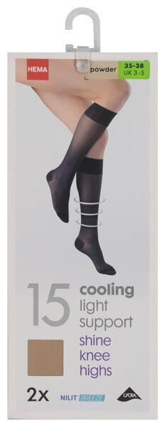 2-pak pantykniekousen licht ondersteunend cooling 15 denier poeder poeder - 1000019393 - HEMA
