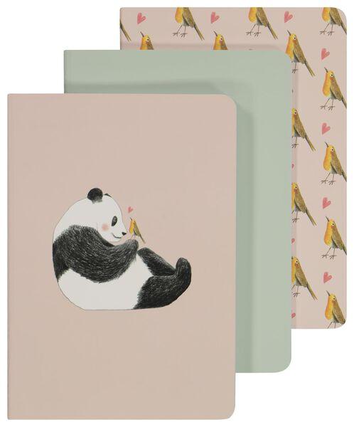 schriften A5 gelinieerd 3 stuks panda - 14150070 - HEMA