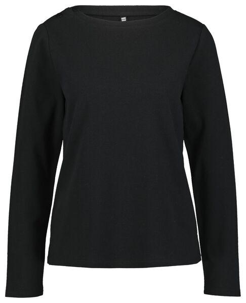 dames t-shirt structuur zwart - 1000023467 - HEMA