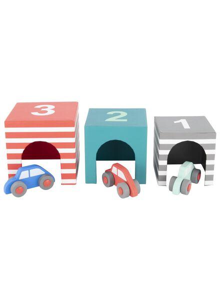 houten auto's met garage - 3 stuks - 15122224 - HEMA
