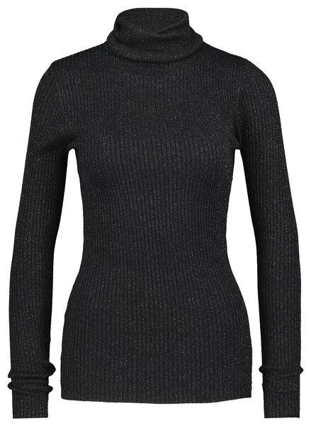 dames top rib glitter zwart zwart - 1000021700 - HEMA