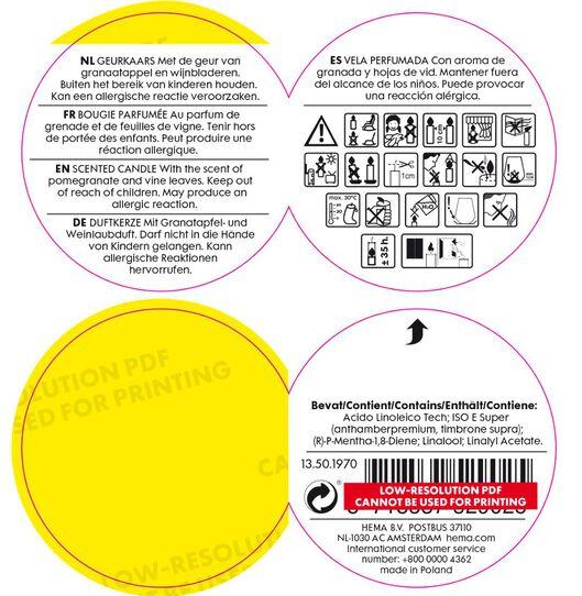 geurkaars in vaas - Ø 8 cm - granaatappel - 13501970 - HEMA