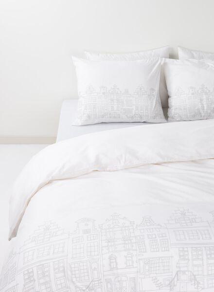 dekbedovertrek - zacht katoen - 140 x 200 cm - wit grachtenpand wit 140 x 200 - 5750028 - HEMA