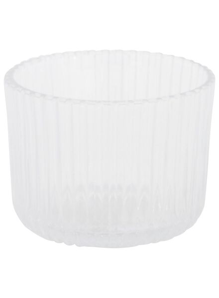 sfeerlichthouder - 5.5 x Ø 7 cm - transparant ribbel - 13392101 - HEMA