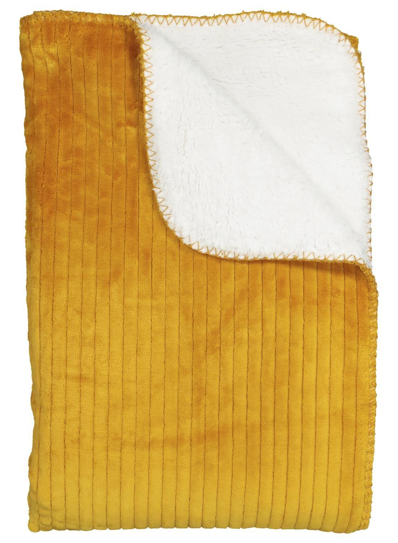 HEMA Scherpa Plaid – 130 X 150 – Okergeel Rib (geel)