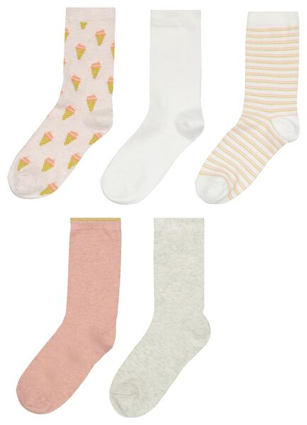 damessokken ijsjes - 5 paar roze 35/38 - 4203096 - HEMA