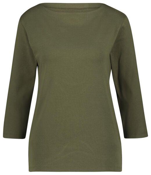 dames t-shirt boothals olijf M - 36334787 - HEMA