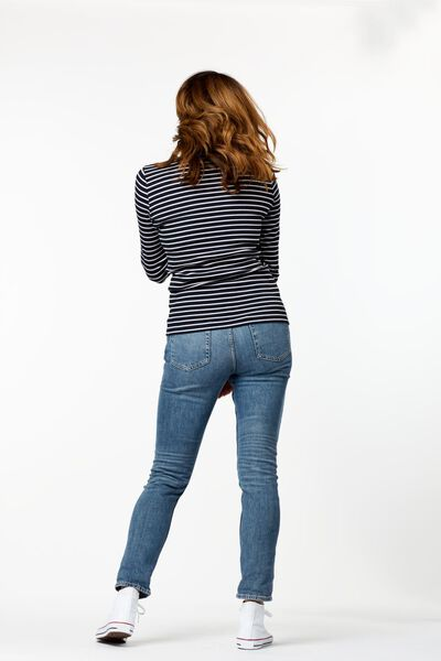 dames t-shirt rib strepen zwart/wit zwart/wit - 1000025308 - HEMA