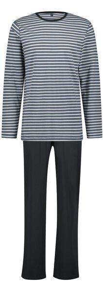 herenpyjama strepen donkerblauw donkerblauw - 1000023456 - HEMA