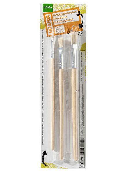 hobbypenselen hout 3 stuks - 15920006 - HEMA