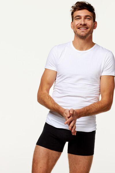 heren t-shirt slim fit o-hals naadloos - 2 stuks wit wit - 1000009848 - HEMA