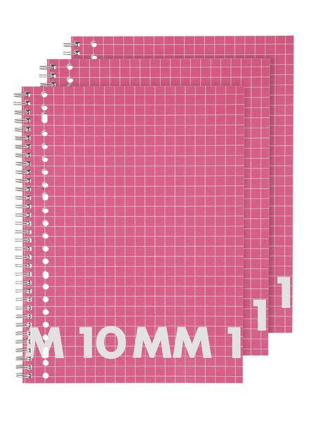 3-pak collegeblokken A4 geruit 10 mm - 14540612 - HEMA