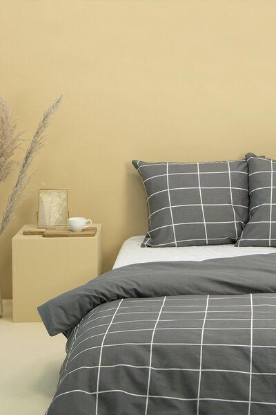 dekbedovertrek - zacht katoen - ruit grijs grijs - 1000016600 - HEMA