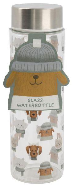 waterfles 600ml glas huisdieren - 61120061 - HEMA
